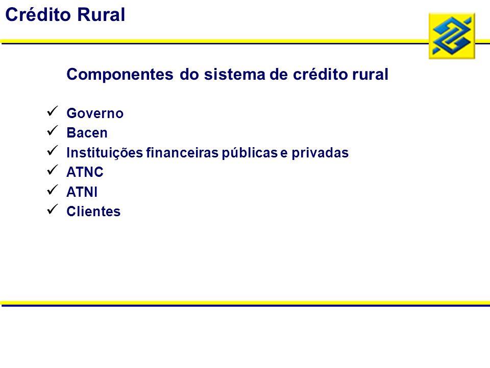 Governo Bacen Instituições financeiras públicas e privadas ATNC ATNI Clientes Crédito Rural Componentes do sistema de crédito rural
