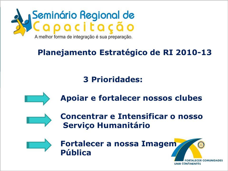 Planejamento Estratégico de RI 2010-13 3 Prioridades: Apoiar e fortalecer nossos clubes Concentrar e Intensificar o nosso Serviço Humanitário Fortalec