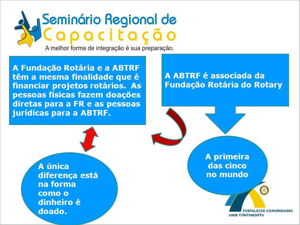 A ABTRF é associada da Fundação Rotária do Rotary A primeira das cinco no mundo A Fundação Rotária e a ABTRF têm a mesma finalidade que é financiar pr