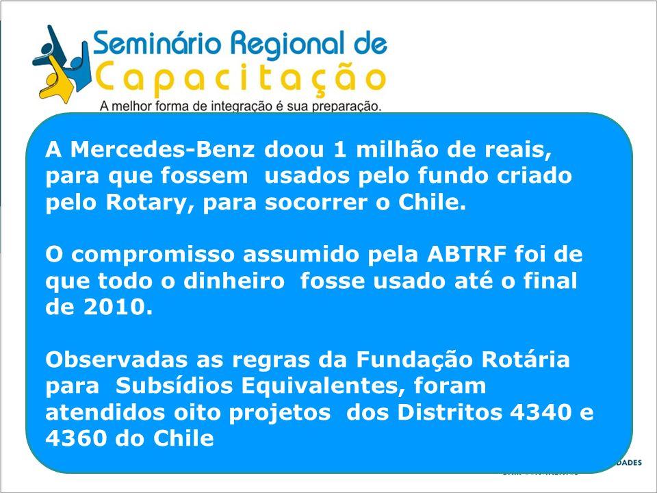 A Mercedes-Benz doou 1 milhão de reais, para que fossem usados pelo fundo criado pelo Rotary, para socorrer o Chile. O compromisso assumido pela ABTRF