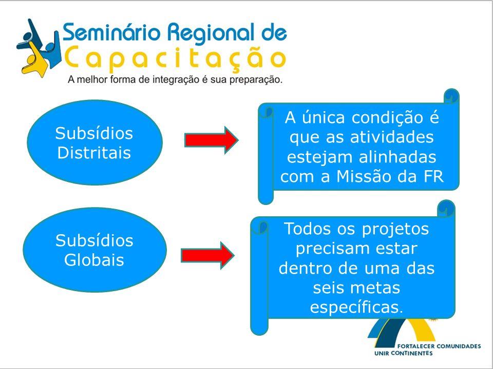 Subsídios Distritais A única condição é que as atividades estejam alinhadas com a Missão da FR Subsídios Globais Todos os projetos precisam estar dent