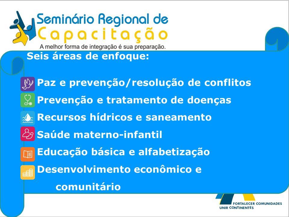 Seis áreas de enfoque: Paz e prevenção/resolução de conflitos Prevenção e tratamento de doenças Recursos hídricos e saneamento Saúde materno-infantil