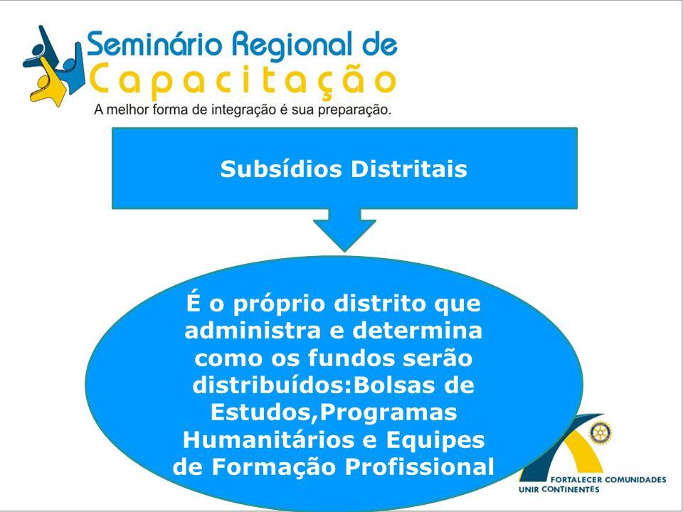 Subsídios Distritais É o próprio distrito que administra e determina como os fundos serão distribuídos:Bolsas de Estudos,Programas Humanitários e Equi