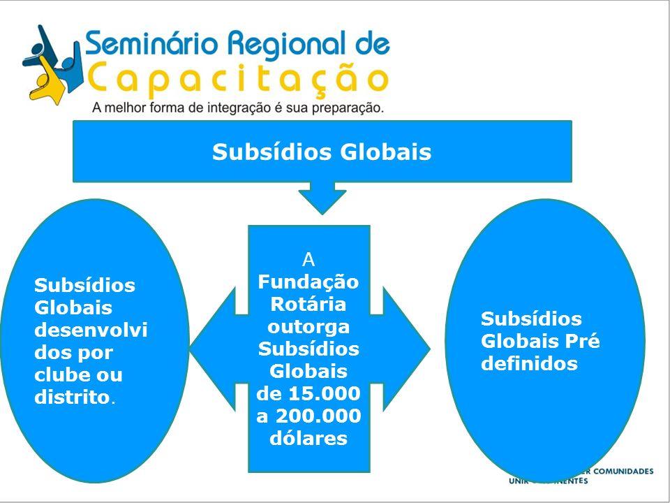 Subsídios Globais A Fundação Rotária outorga Subsídios Globais de 15.000 a 200.000 dólares Subsídios Globais desenvolvi dos por clube ou distrito. Sub
