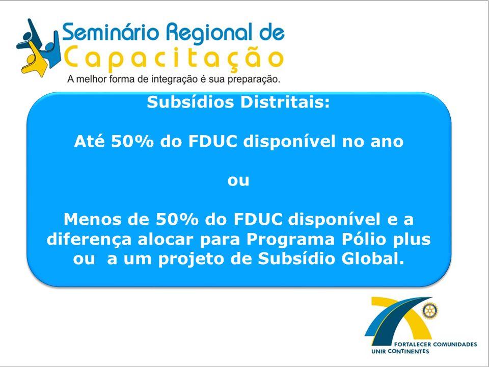 Subsídios Distritais: Até 50% do FDUC disponível no ano ou Menos de 50% do FDUC disponível e a diferença alocar para Programa Pólio plus ou a um proje