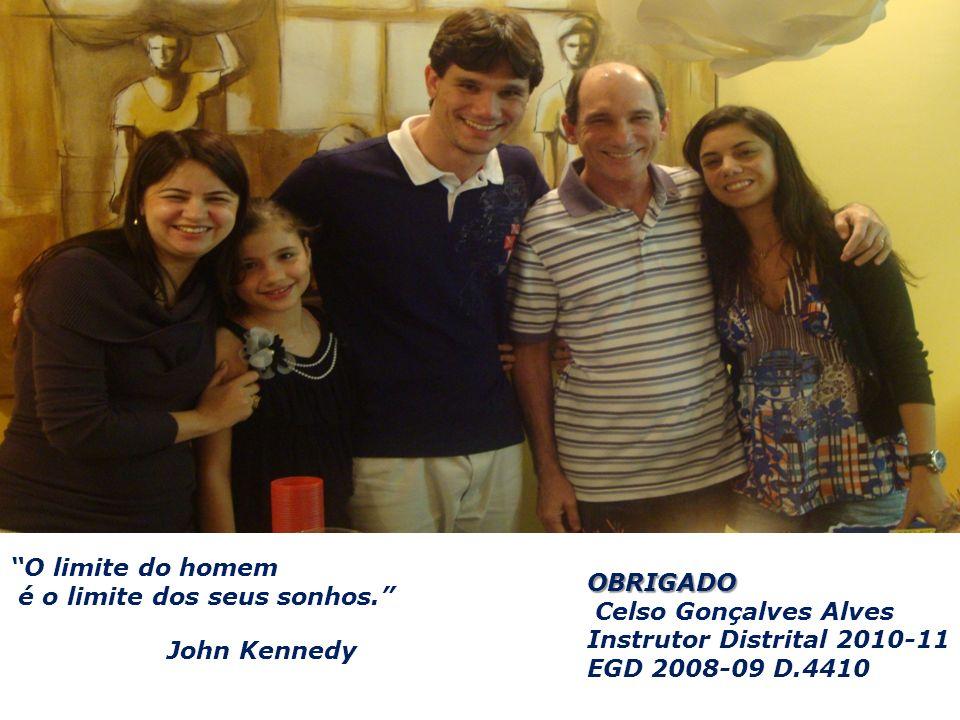 OBRIGADO Celso Gonçalves Alves Instrutor Distrital 2010-11 EGD 2008-09 D.4410 O limite do homem é o limite dos seus sonhos. John Kennedy