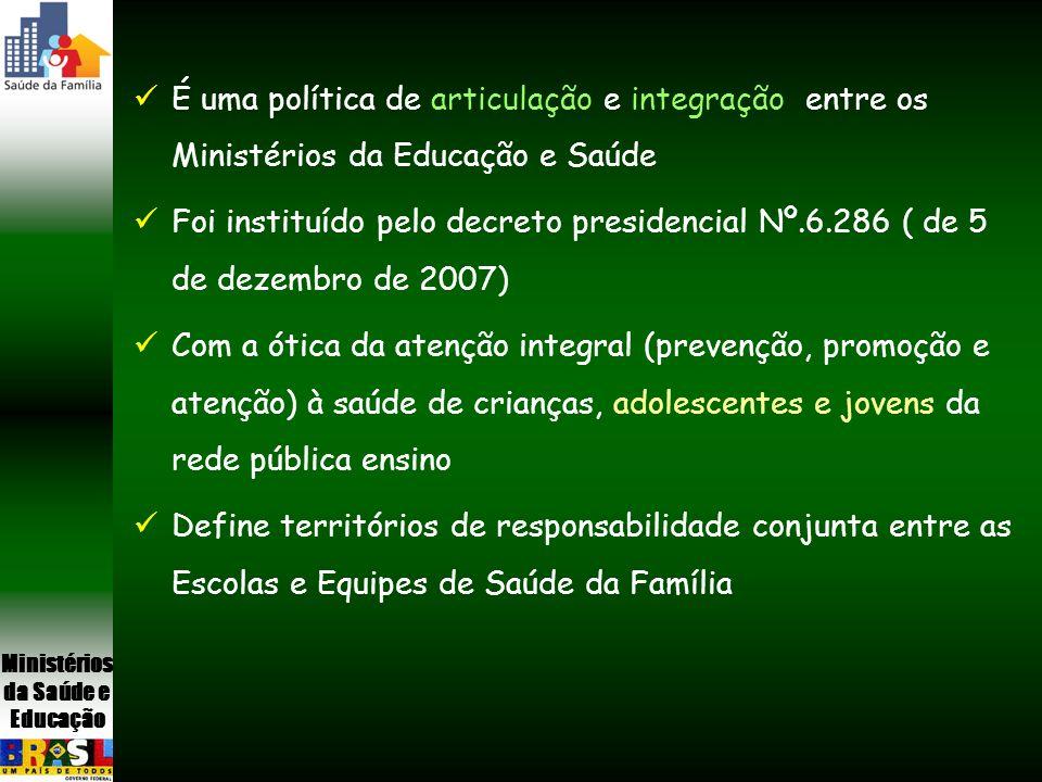 É uma política de articulação e integração entre os Ministérios da Educação e Saúde Foi instituído pelo decreto presidencial Nº.6.286 ( de 5 de dezemb