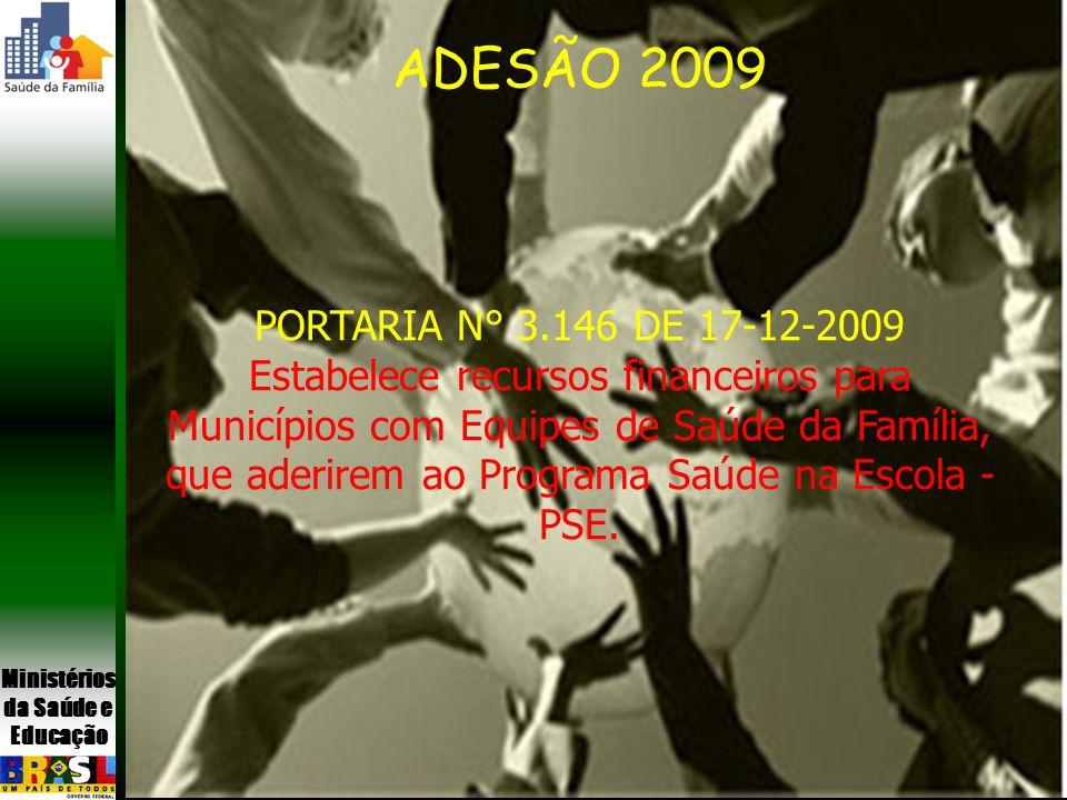Ministérios da Saúde e Educação ADESÃO 2009 PREVISÃO 129 municípios do Mais Educação 601 municípios com cobertura de 70% de ESF ADESÃO 2009 PORTARIA N