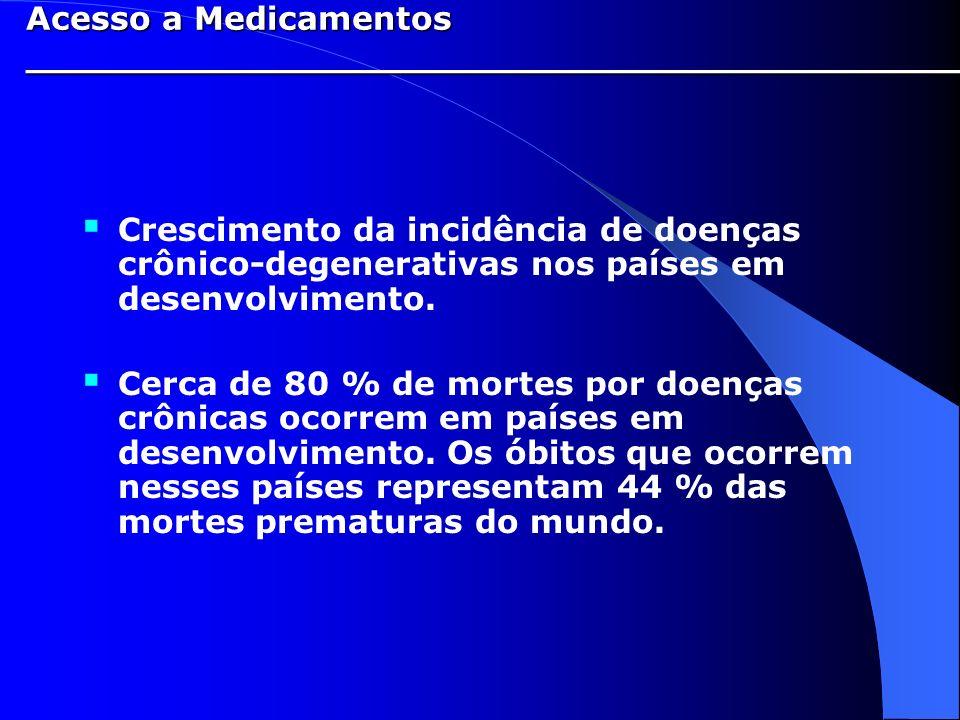 Crescimento da incidência de doenças crônico-degenerativas nos países em desenvolvimento. Cerca de 80 % de mortes por doenças crônicas ocorrem em país