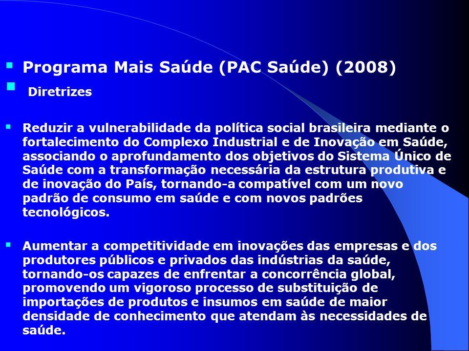 Programa Mais Saúde (PAC Saúde) (2008) Diretrizes Reduzir a vulnerabilidade da política social brasileira mediante o fortalecimento do Complexo Indust