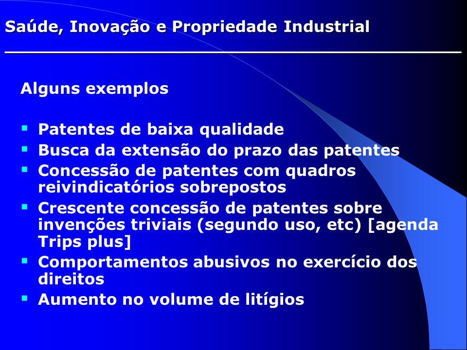 Saúde, Inovação e Propriedade Industrial _________________________________________ Alguns exemplos Patentes de baixa qualidade Busca da extensão do pr