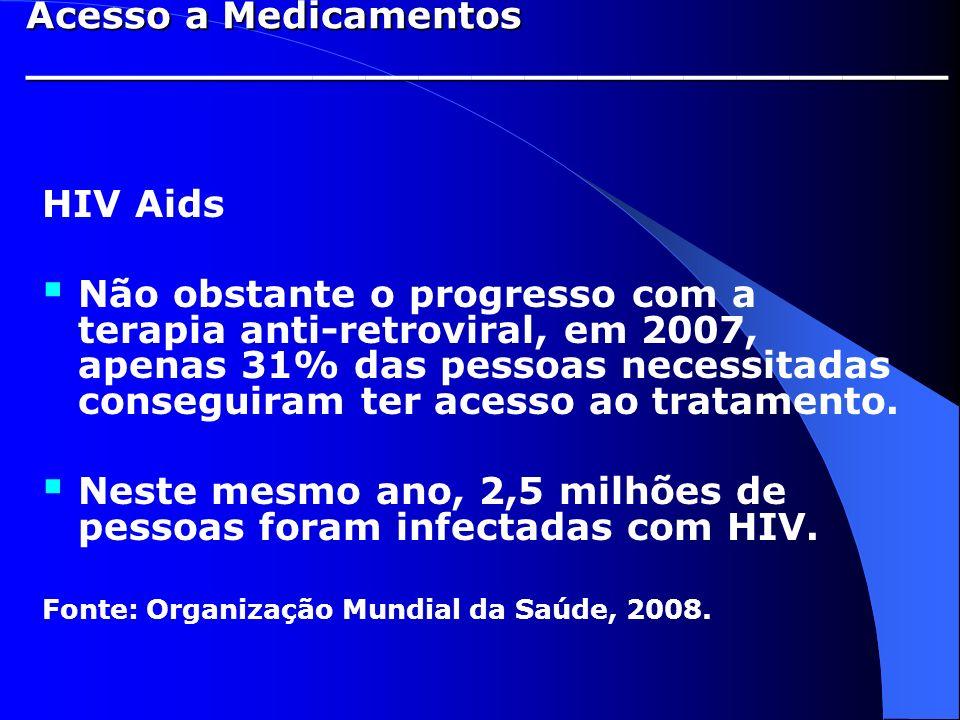 HIV Aids Não obstante o progresso com a terapia anti-retroviral, em 2007, apenas 31% das pessoas necessitadas conseguiram ter acesso ao tratamento. Ne