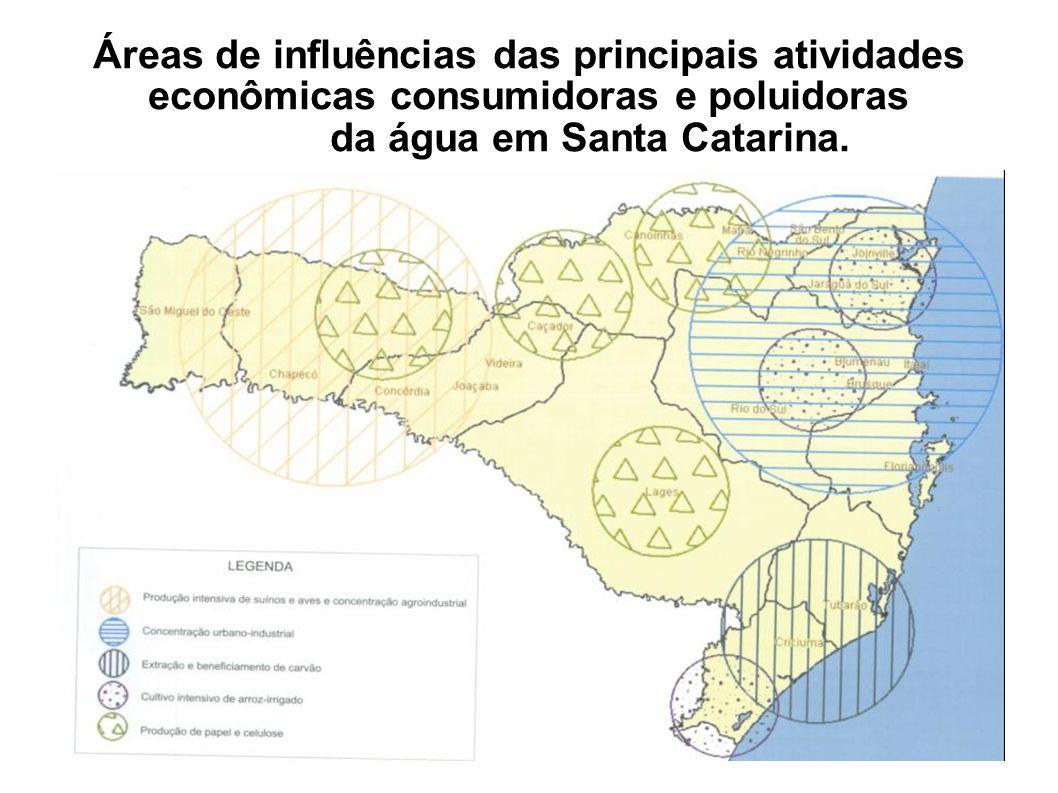 Áreas de influências das principais atividades econômicas consumidoras e poluidoras da água em Santa Catarina.