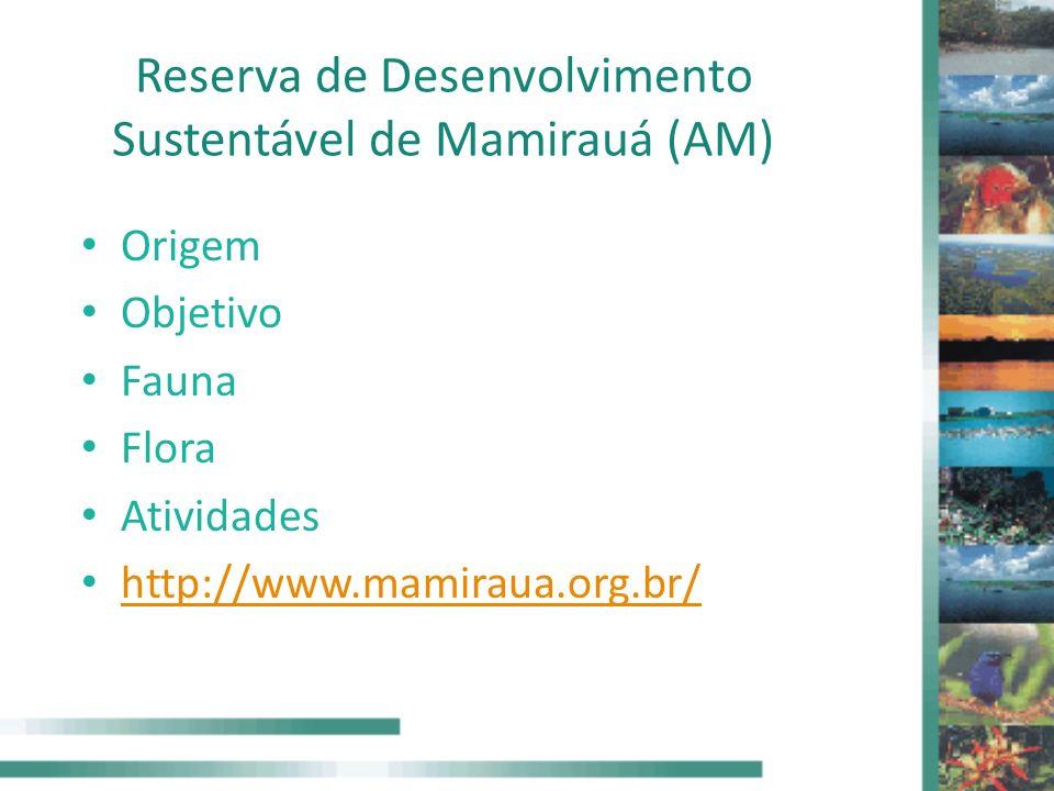 Reserva de Desenvolvimento Sustentável de Mamirauá (AM) Origem Objetivo Fauna Flora Atividades http://www.mamiraua.org.br/