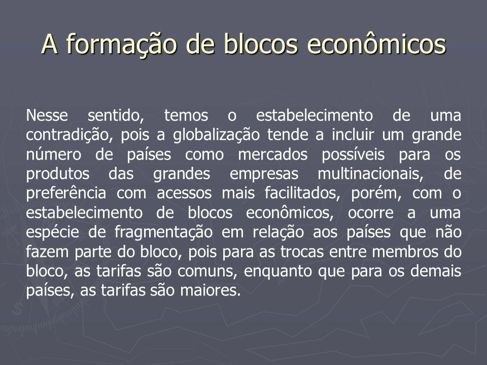 A formação de blocos econômicos Existem vários estágios para a formação de blocos econômicos: 1.Zona de Livre-comércio: área de livre circulação de capitais e mercadorias.