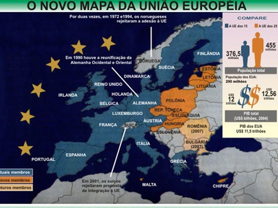 Em 1957 foi criada a Comunidade Econômica Européia, tendo como primeiros membros a França, a Alemanha Ocidental, a Itália, a Bélgica, os Países Baixos e Luxemburgo.