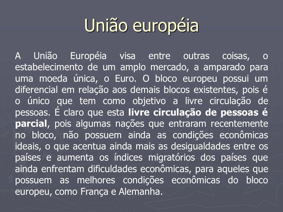 União européia Impasse na União Européia: A constituição – Em 2005 a proposta de constituição da União Européia foi rejeitada por França e Holanda.