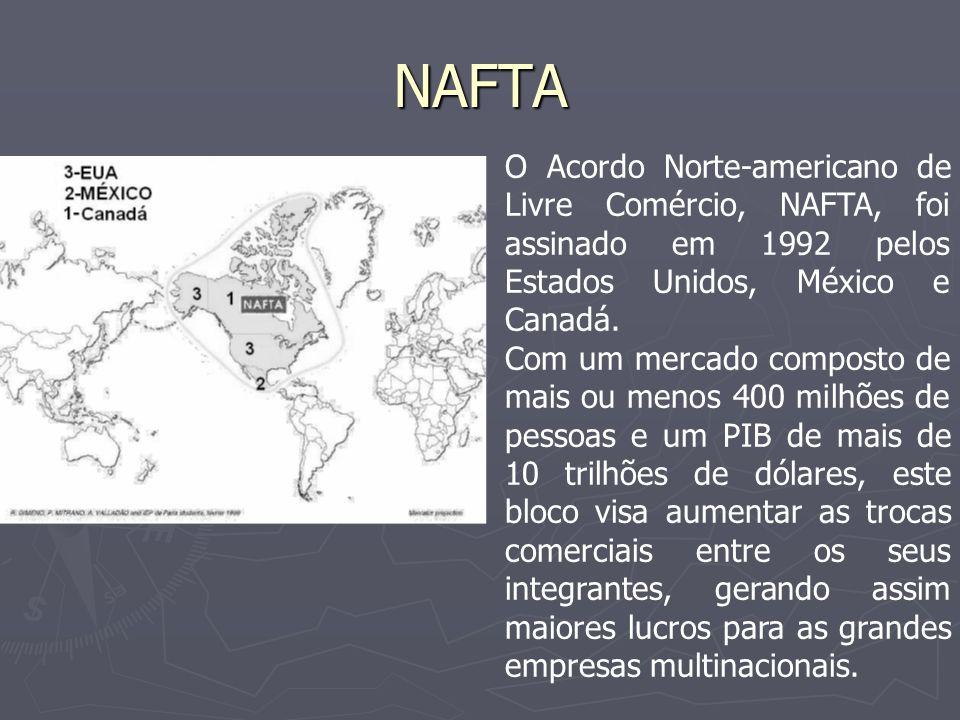 NAFTA A maior economia deste bloco, a dos Estados Unidos, acaba polarizando as ações, isso dentro daquela lógica da Doutrina Monroe: A América para os americanos.