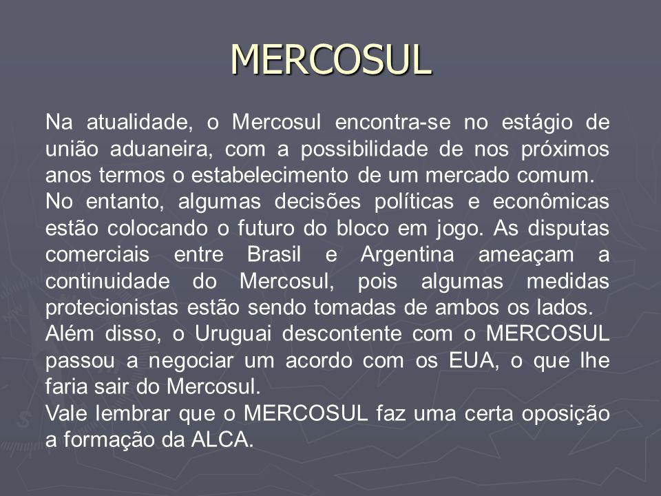 MERCOSUL Vale dizer que no Brasil, o MERCOSUL, influenciou no processo de desconcentração industrial, com a saída de industrias do Sudeste para o Sul e Centro-oeste, regiões fronteiriças com os demais países do bloco.