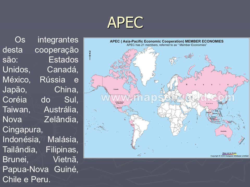 APEC Esta associação comercial foi criada em 1989 e é composta por 20 países banhados pelo oceano pacífico.