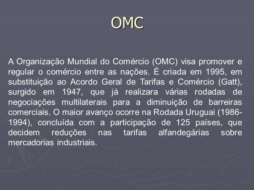 OMC Com a intensificação do processo de globalização, a atuação da OMC cresce na última década.