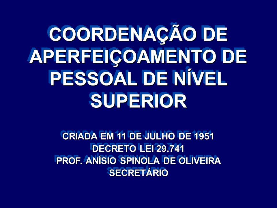 COORDENAÇÃO DE APERFEIÇOAMENTO DE PESSOAL DE NÍVEL SUPERIOR CRIADA EM 11 DE JULHO DE 1951 DECRETO LEI 29.741 PROF. ANÍSIO SPINOLA DE OLIVEIRA SECRETÁR