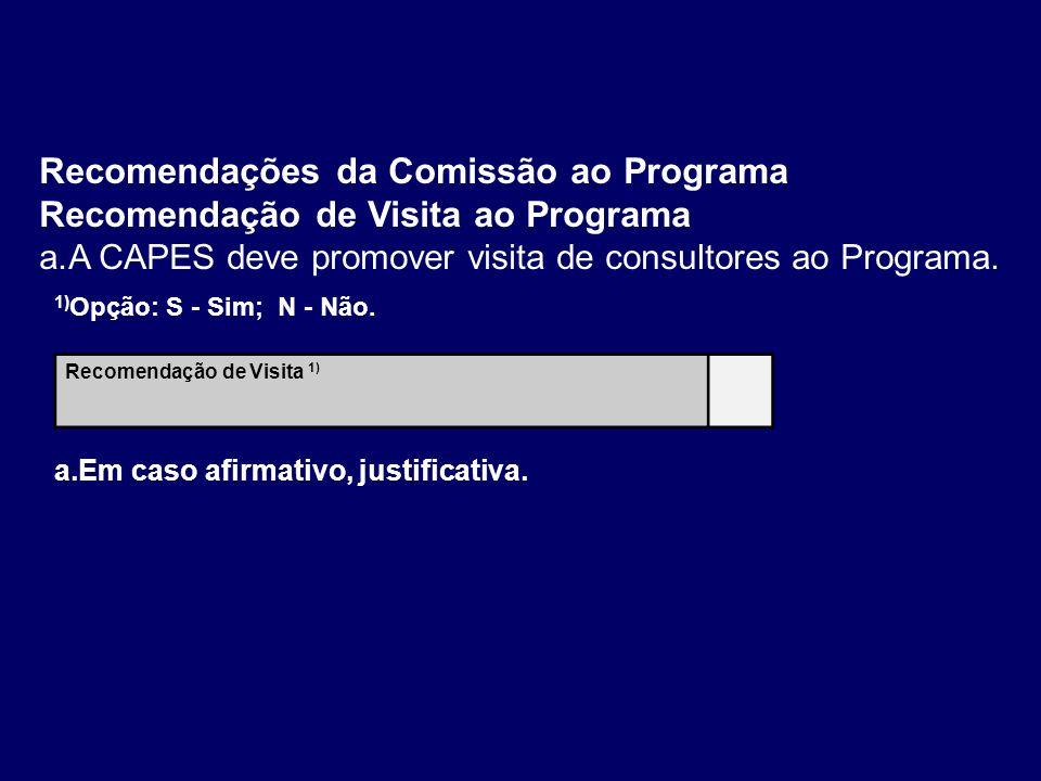 Recomendações da Comissão ao Programa Recomendação de Visita ao Programa a.A CAPES deve promover visita de consultores ao Programa. Recomendação de Vi