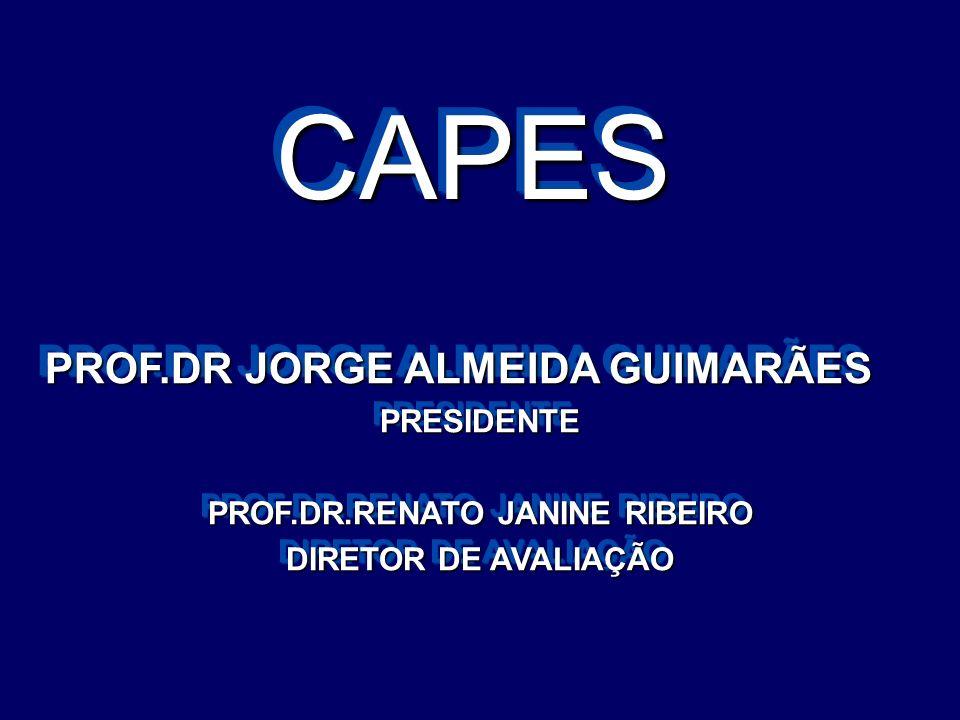 CAPESCAPES PROF.DR JORGE ALMEIDA GUIMARÃES PROF.DR JORGE ALMEIDA GUIMARÃESPRESIDENTE PROF.DR.RENATO JANINE RIBEIRO DIRETOR DE AVALIAÇÃO PROF.DR JORGE