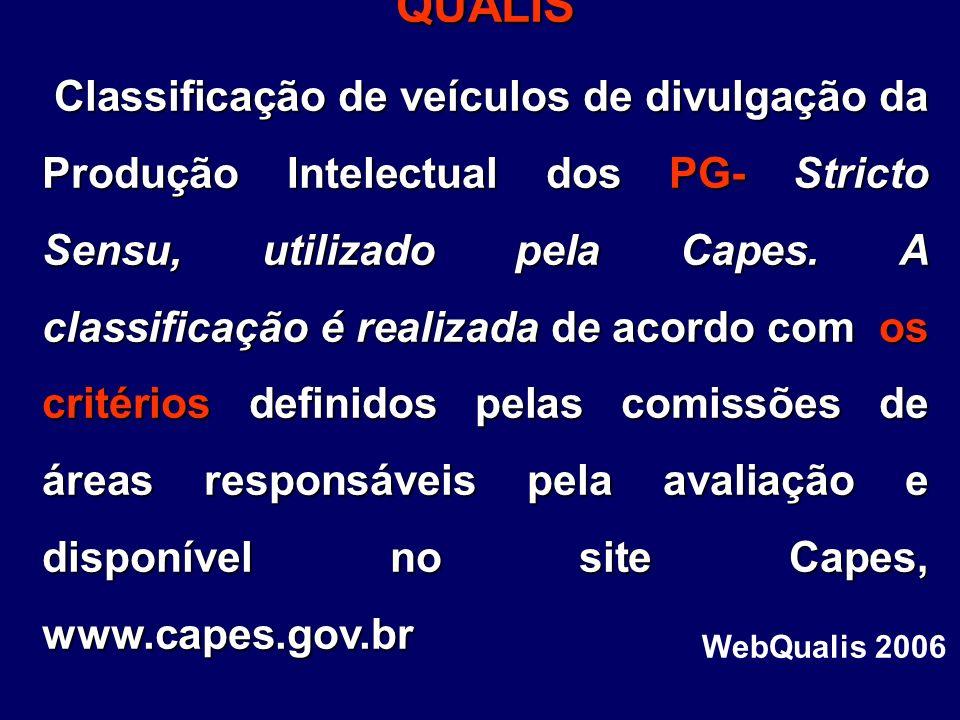 QUALIS QUALIS Classificação de veículos de divulgação da Produção Intelectual dos PG- Stricto Sensu, utilizado pela Capes. A classificação é realizada