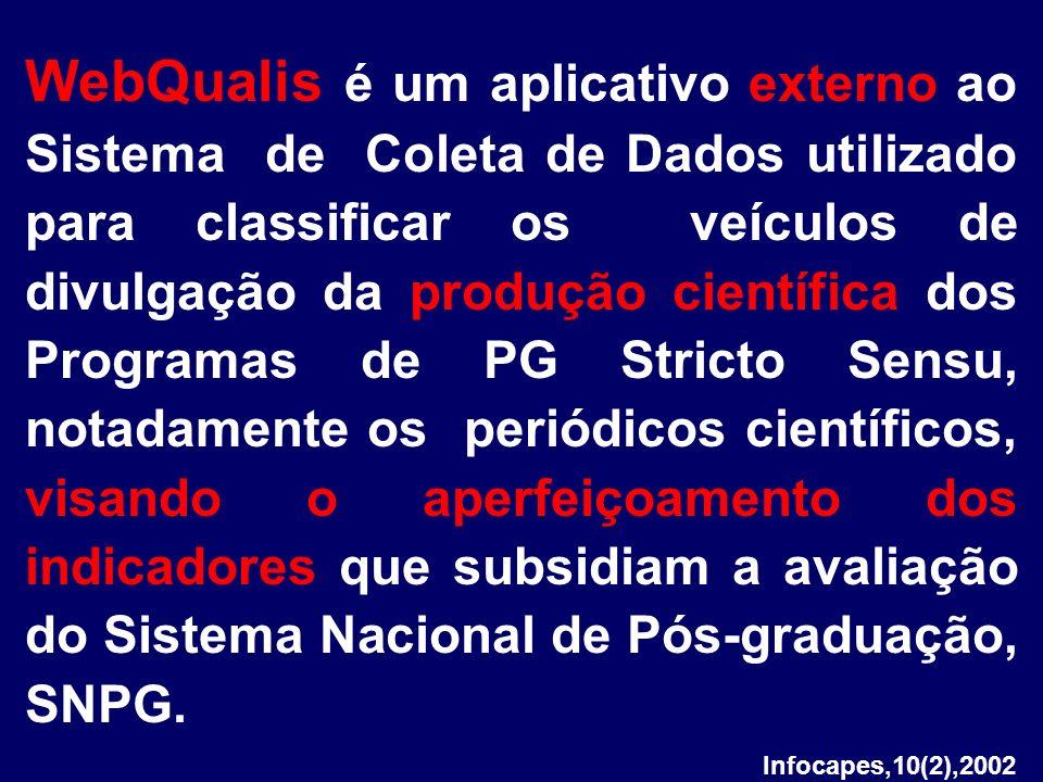 Infocapes,10(2),2002 WebQualis é um aplicativo externo ao Sistema de Coleta de Dados utilizado para classificar os veículos de divulgação da produção