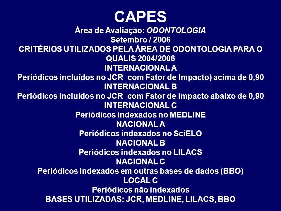 CAPES Área de Avaliação: ODONTOLOGIA Setembro / 2006 CRITÉRIOS UTILIZADOS PELA ÁREA DE ODONTOLOGIA PARA O QUALIS 2004/2006 INTERNACIONAL A Periódicos