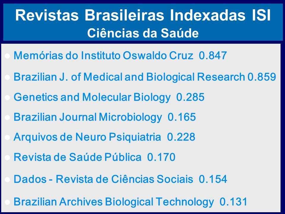 Revistas Brasileiras Indexadas ISI Ciências da Saúde Memórias do Instituto Oswaldo Cruz 0.847 Brazilian J. of Medical and Biological Research 0.859 Ge