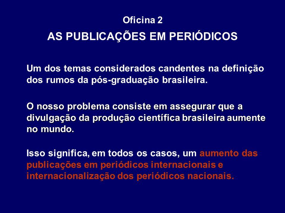 Oficina 2 AS PUBLICAÇÕES EM PERIÓDICOS O nosso problema consiste em assegurar que a divulgação da produção científica brasileira aumente no mundo. Iss