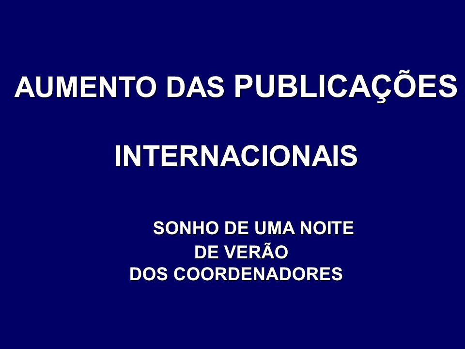 AUMENTO DAS PUBLICAÇÕES INTERNACIONAIS SONHO DE UMA NOITE SONHO DE UMA NOITE DE VERÃO DE VERÃO DOS COORDENADORES