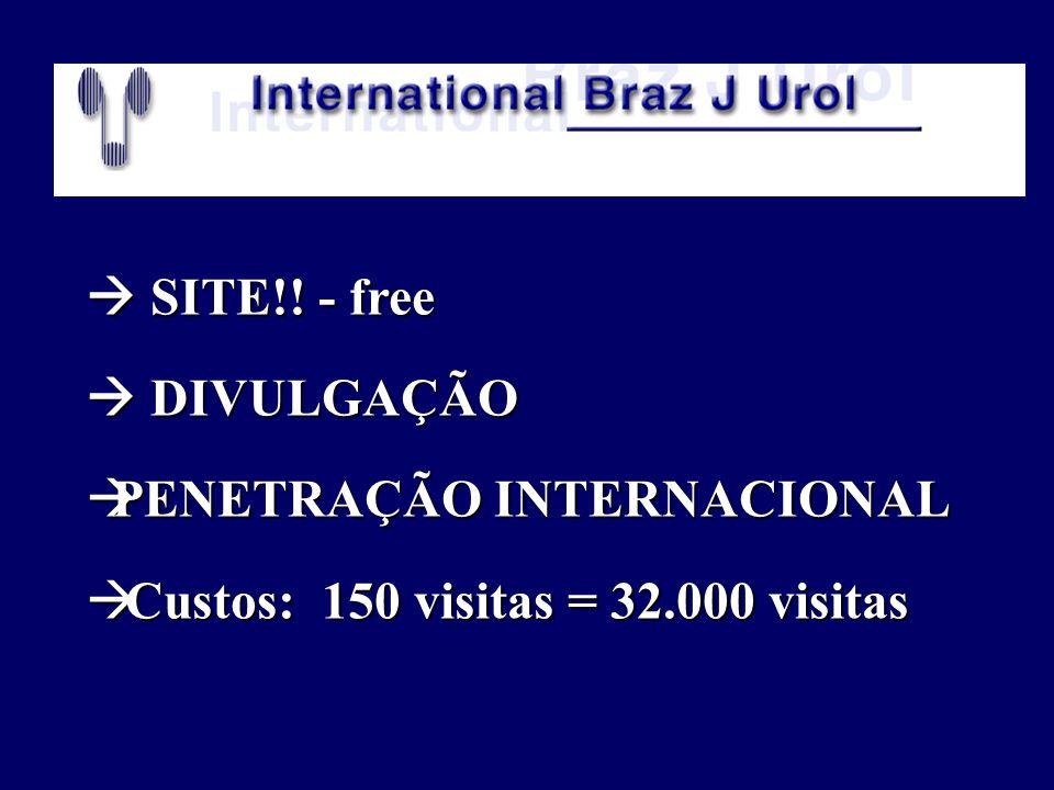 SITE!! - free SITE!! - free DIVULGAÇÃO DIVULGAÇÃO PENETRAÇÃO INTERNACIONAL PENETRAÇÃO INTERNACIONAL Custos: 150 visitas = 32.000 visitas Custos: 150 v