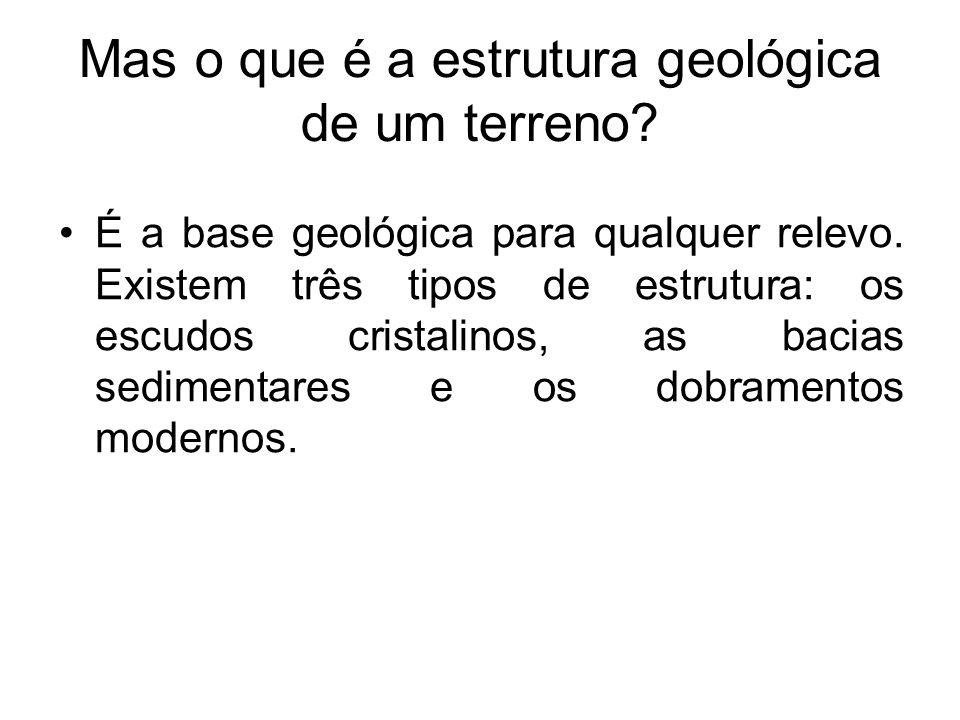 Escudos Cristalinos São as áreas geológicas mais antigas da terra (datam do pré-cambriano).