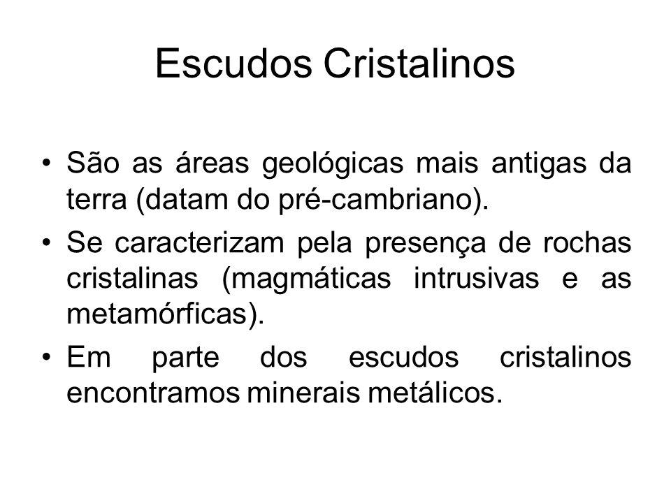 Bacias Sedimentares São grandes áreas de sedimentação (deposição de sedimentos), que se formaram a partir do paleozóico; São formadas por rochas sedimentares; Nelas é possível encontrar minerais orgânicos e fósseis.