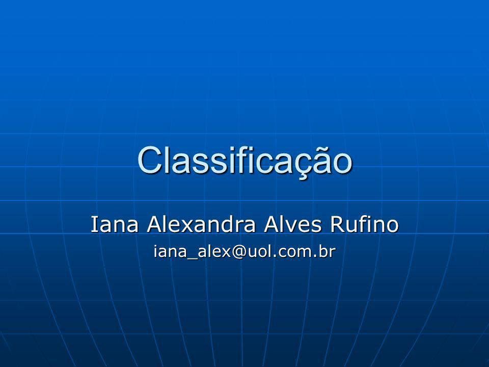 Classificação Classificação Classificação Conceitos BásicosConceitos Básicos Classificação Supervisionada X Classificação Não SupervisionadaClassificação Supervisionada X Classificação Não Supervisionada Tipos de ClassificadoresTipos de Classificadores