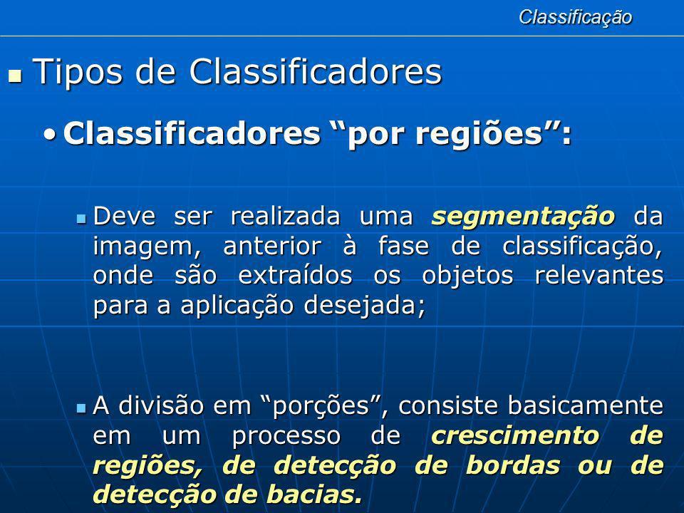 Classificação Tipos de Classificadores Tipos de Classificadores Classificadores por regiões:Classificadores por regiões: Deve ser realizada uma segmen