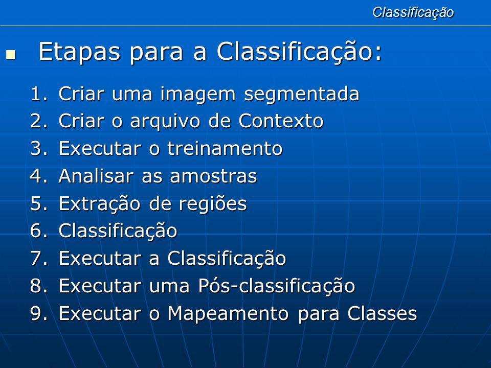 Classificação Etapas para a Classificação: Etapas para a Classificação: 1.Criar uma imagem segmentada 2.Criar o arquivo de Contexto 3.Executar o trein
