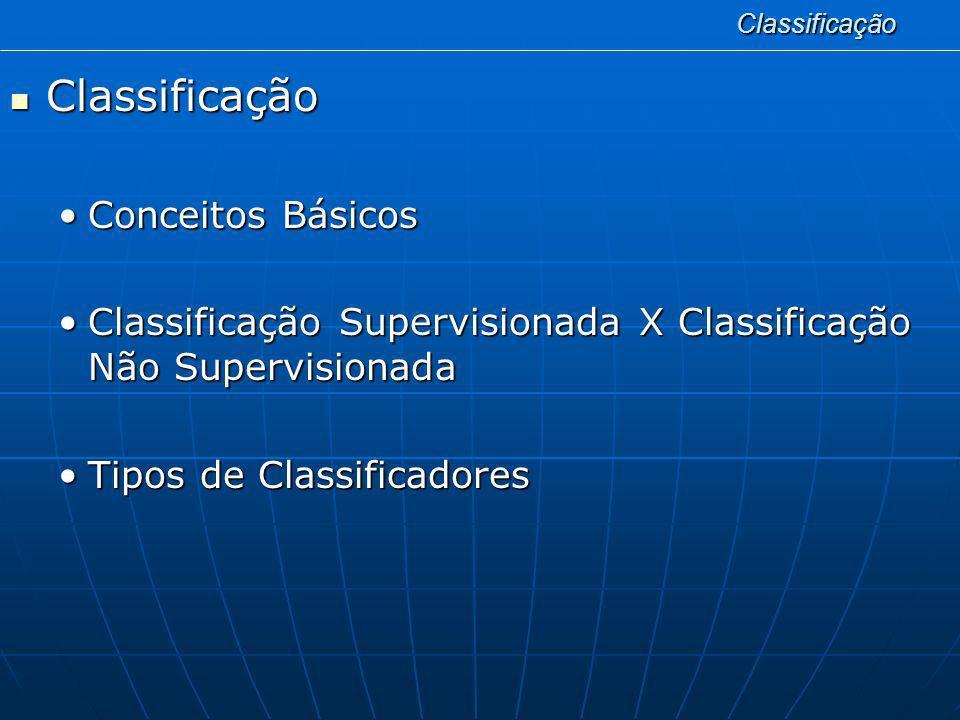 Classificação Classificação Classificação Conceitos BásicosConceitos Básicos Classificação Supervisionada X Classificação Não SupervisionadaClassifica