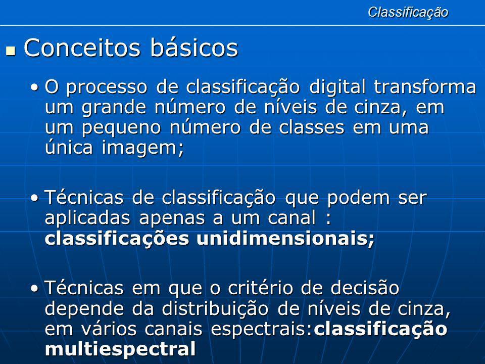 Classificação Conceitos básicos Conceitos básicos O processo de classificação digital transforma um grande número de níveis de cinza, em um pequeno nú