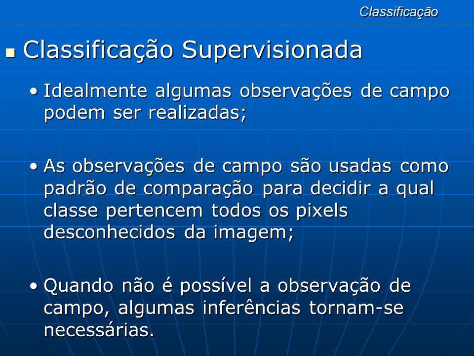 Classificação Classificação Supervisionada Classificação Supervisionada Idealmente algumas observações de campo podem ser realizadas;Idealmente alguma