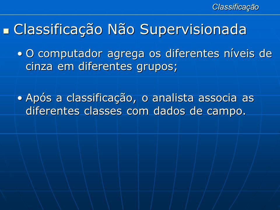 Classificação Classificação Não Supervisionada Classificação Não Supervisionada O computador agrega os diferentes níveis de cinza em diferentes grupos