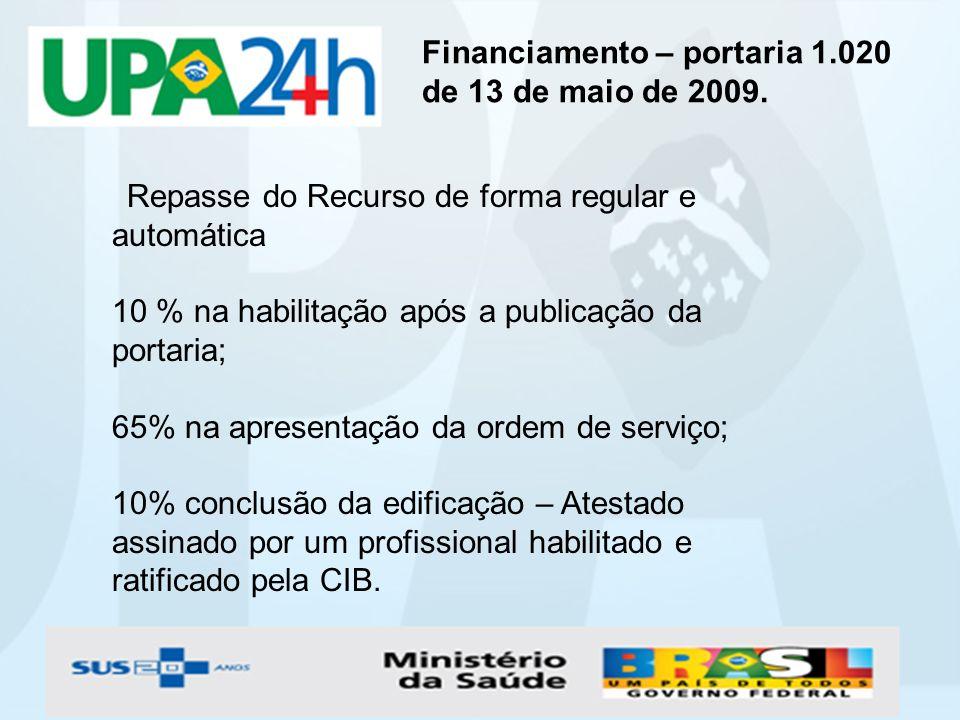 Financiamento – portaria 1.020 de 13 de maio de 2009. Repasse do Recurso de forma regular e automática 10 % na habilitação após a publicação da portar