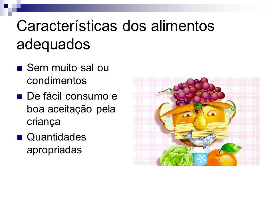 Características dos alimentos adequados Sem muito sal ou condimentos De fácil consumo e boa aceitação pela criança Quantidades apropriadas