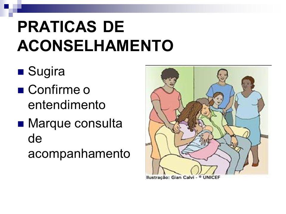 PRATICAS DE ACONSELHAMENTO Sugira Confirme o entendimento Marque consulta de acompanhamento