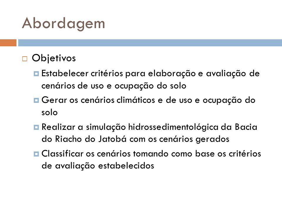 Abordagem Objetivos Estabelecer critérios para elaboração e avaliação de cenários de uso e ocupação do solo Gerar os cenários climáticos e de uso e ocupação do solo Realizar a simulação hidrossedimentológica da Bacia do Riacho do Jatobá com os cenários gerados Classificar os cenários tomando como base os critérios de avaliação estabelecidos
