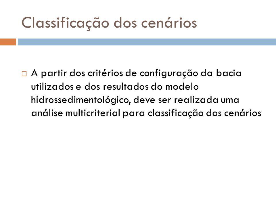 Classificação dos cenários A partir dos critérios de configuração da bacia utilizados e dos resultados do modelo hidrossedimentológico, deve ser realizada uma análise multicriterial para classificação dos cenários