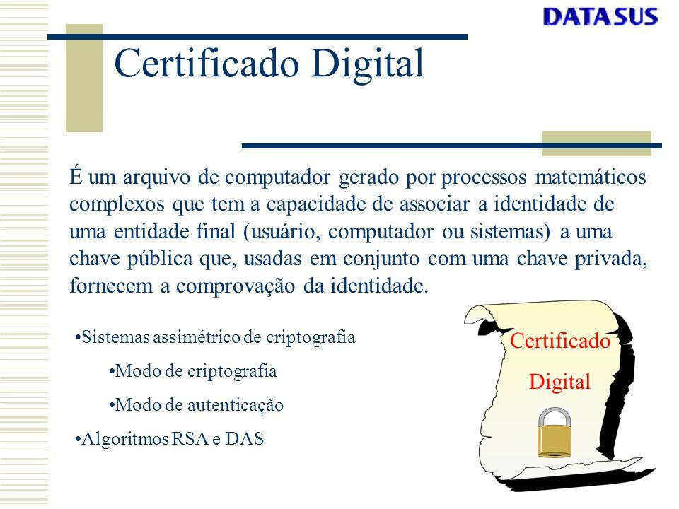 Certificado Digital É um arquivo de computador gerado por processos matemáticos complexos que tem a capacidade de associar a identidade de uma entidad